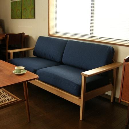 2人掛けソファ無垢材 北欧デザイン