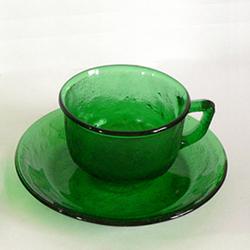 フランス製グリーンガラスカップ&ソーサー