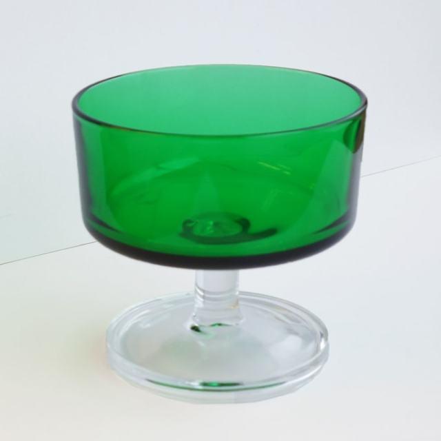 ヴィンテージ・シャーベットグラス グリーン