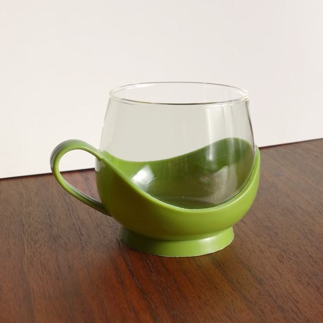 ドイツ製ヴィンテージガラスカップ&ホルダー グリーン