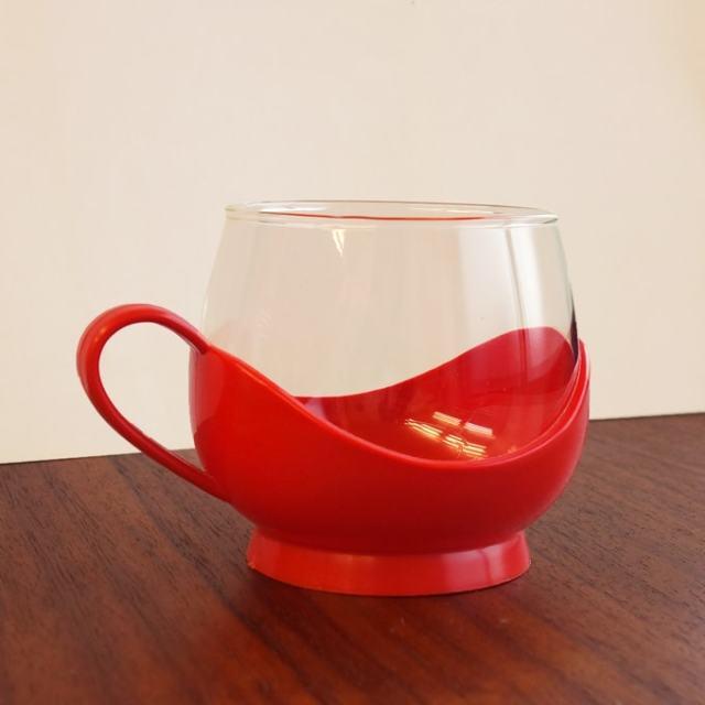ヴィンテージのガラスカップ&ホルダー 赤