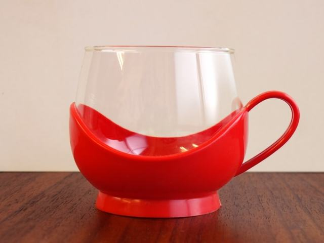 ドイツ製ガラスカップ 赤ホルダー付き