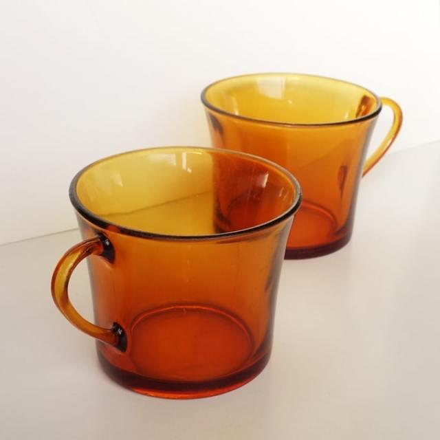 アンバーガラスカップ2個セット