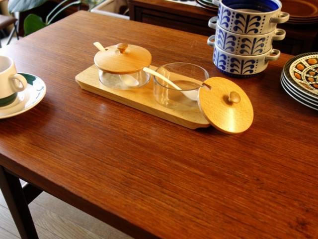 ヴィンテージ ガラス製ジャムポット・シュガーポット