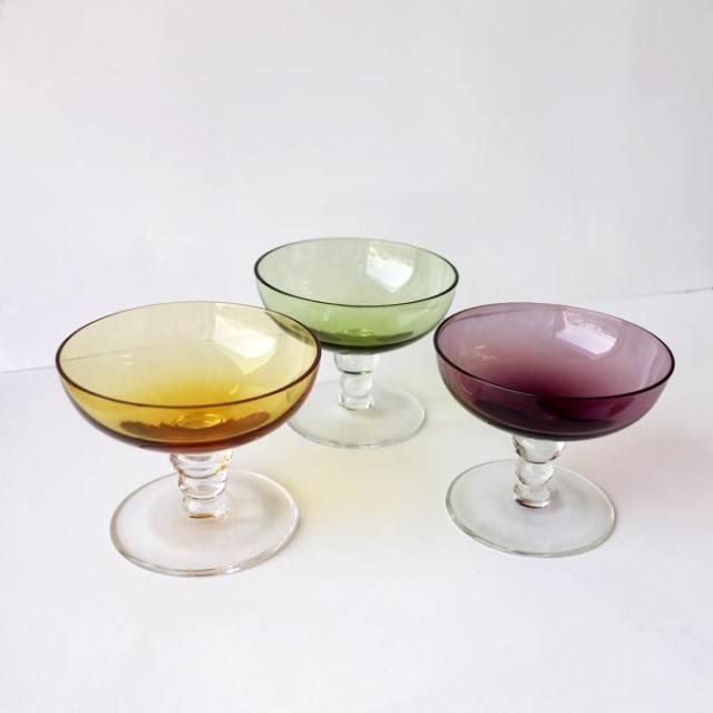 ヴィンテージのシャーベットグラス3色セット