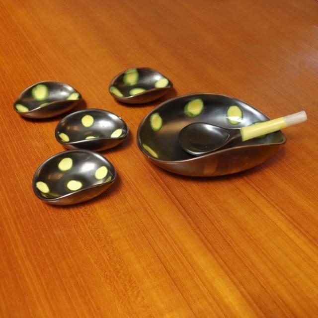 ビンテージ小皿セット ドット柄