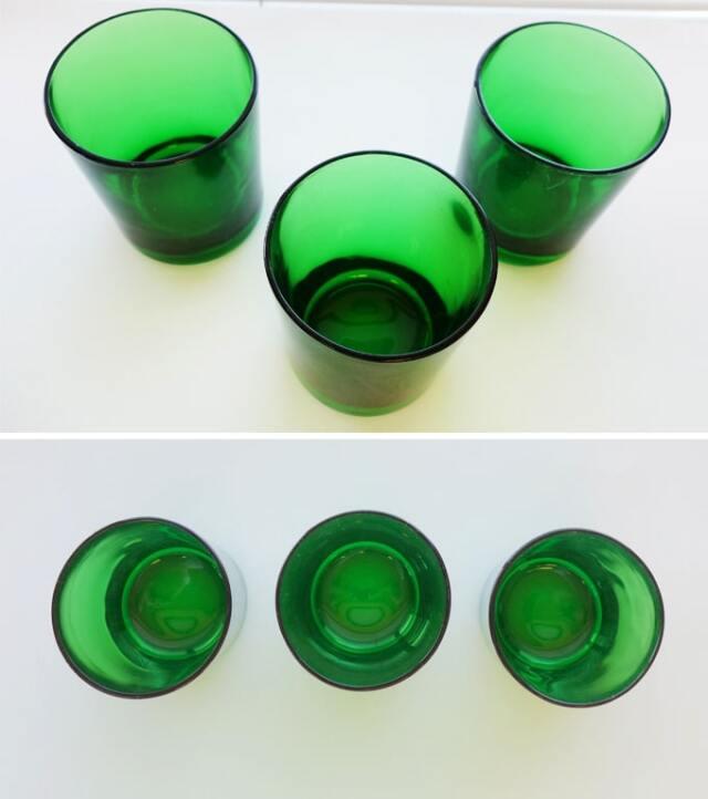 ヴィンテージグラス3個セット グリーン