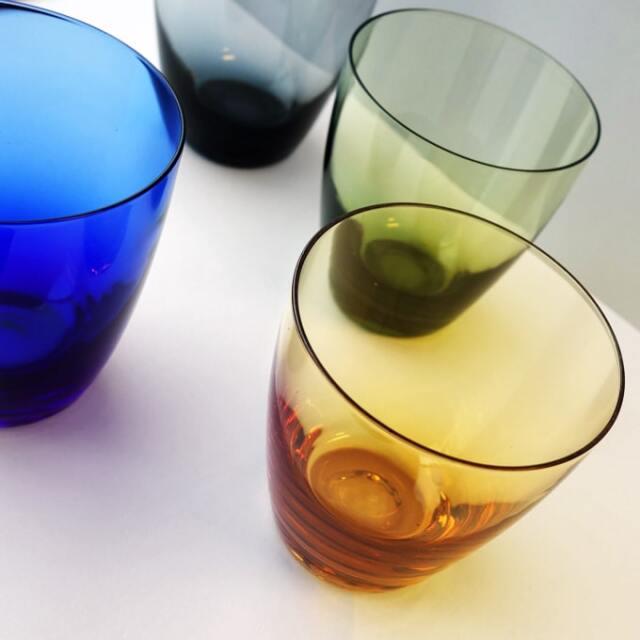 ビンテージ・カラーグラス4個セット