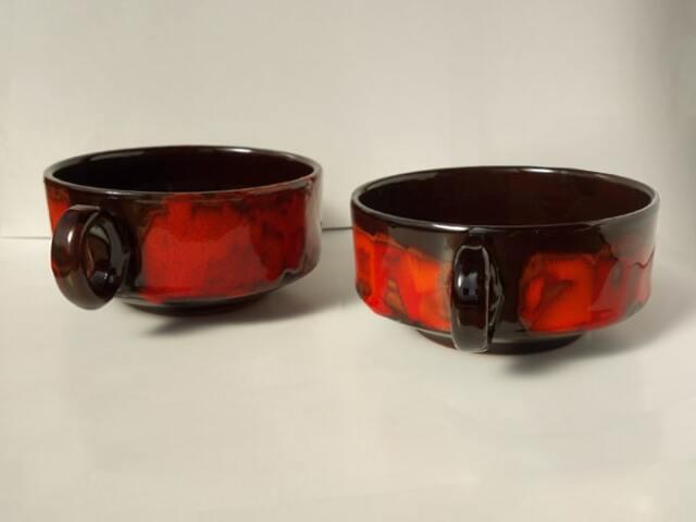 陶器スープカップ 黒×赤