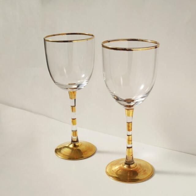 ビンテージ金縁ワイングラス