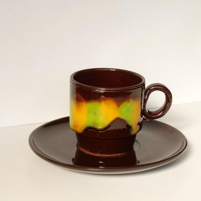 ヴィンテージ陶器カップ&ソーサー黒