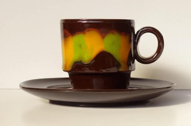 アンティーク陶器カップソーサー 黒×黄色
