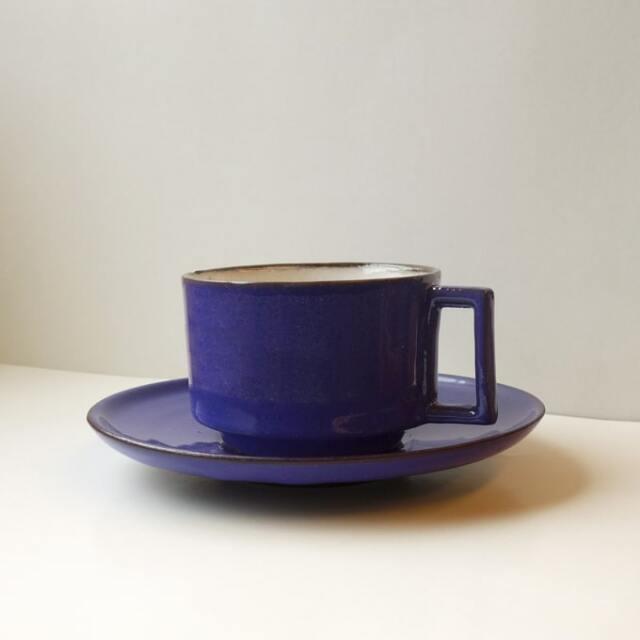 ヴィンテージ陶器カップ&ソーサー ブルー