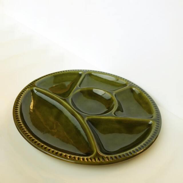 ビンテージ陶器モーニングプレート グリーン