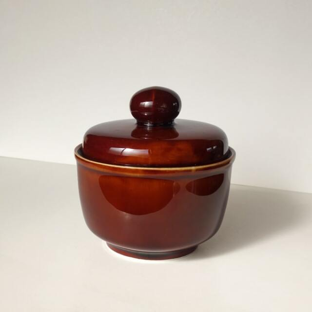 ビンテージ陶器シュガーポット茶色
