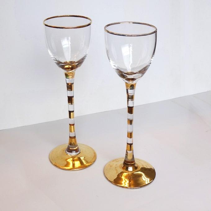 ビンテージ金縁ワイングラス小