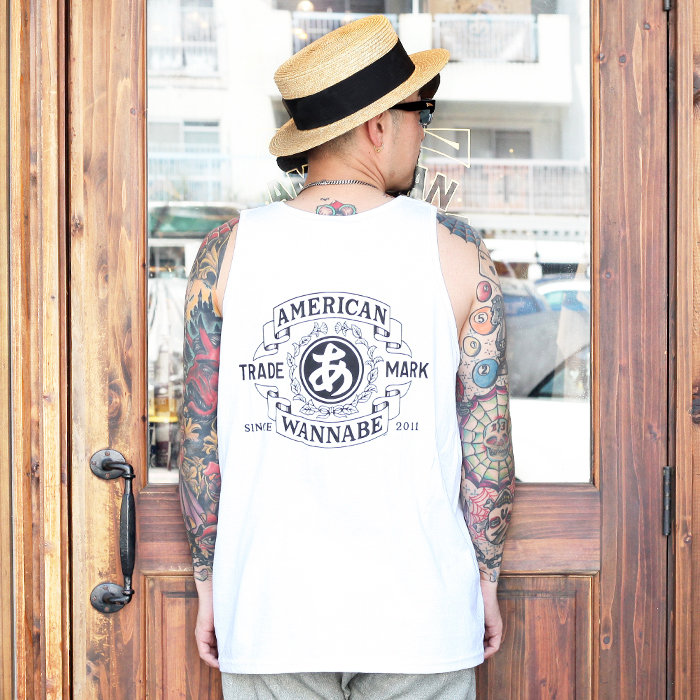 """RUM ART WORKS × AMERICAN WANNABE 「 """"TRADE MARK """"OVER TANK TOP 」  プリントタンクトップ"""