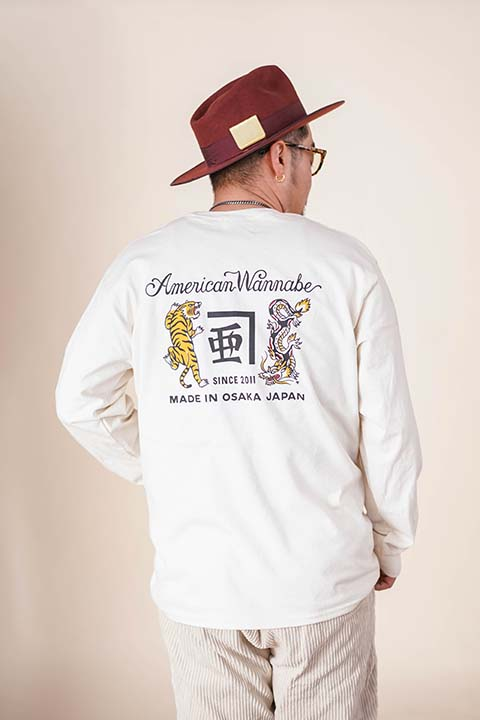 "RUM ART WORKS × AMERICAN WANNABE 「 ""Tiger & Dragon"" L/S TEE 」  プリントL/Sティーシャツ"