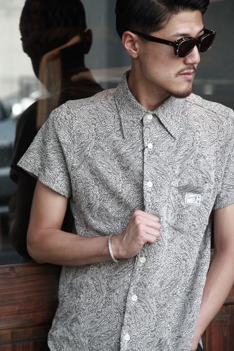 GANGSTERVILLE/ギャングスタービル   「PAISLEY  - S/S SHIRTS」  ニットペイズリーシャツ