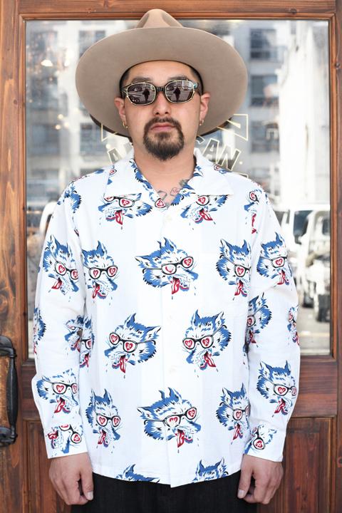 WEIRDO/ウィアード   「WOLF BAIT - L/S SHIRTS」   オープンカラー総柄L/Sシャツ