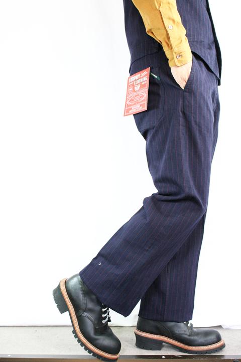 TROPHY CLOTHING/トロフィークロージング   「Modern Times Work Pants」  インディゴヘリンボーンストライプワークパンツ