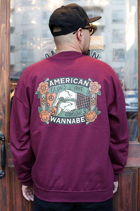 "AMERICAN WANNABE/アメリカンワナビー  「 ""OLDIES  BUT GOODIES "" 8oz CREW SWEAT 」 クルースウェット"