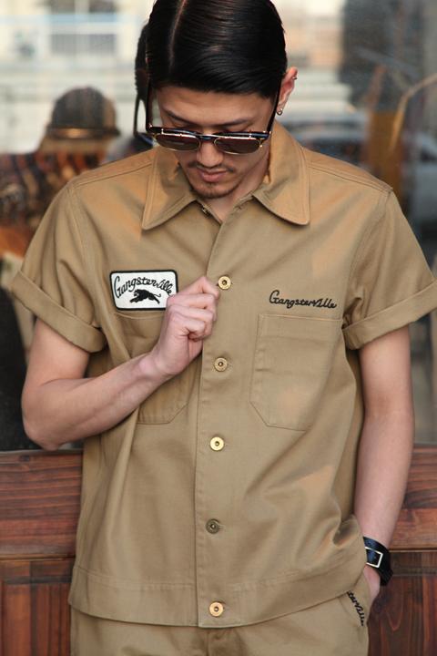 GANGSTERVILLE/ギャングスタービル   「GREASER - S/S SHIRTS」  コットンツイルシャツ