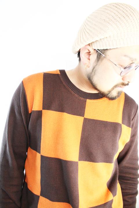 TROPHY CLOTHING/トロフィークロージング  「Checker Summer L/S  Knit」  チェッカーサマーニット