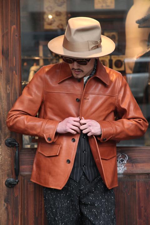GANGSTERVILLE/ギャングスタービル   「30'S CAR COAT - HORSE HIDE」  ホースハイドレザーカーコート