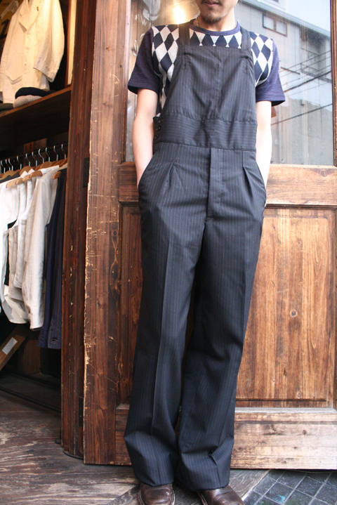 BLACK SIGN/ブラックサイン  「Shadow Stripe Tailor Man Apron Waist Over-alls」  エプロンオーバーオールズ