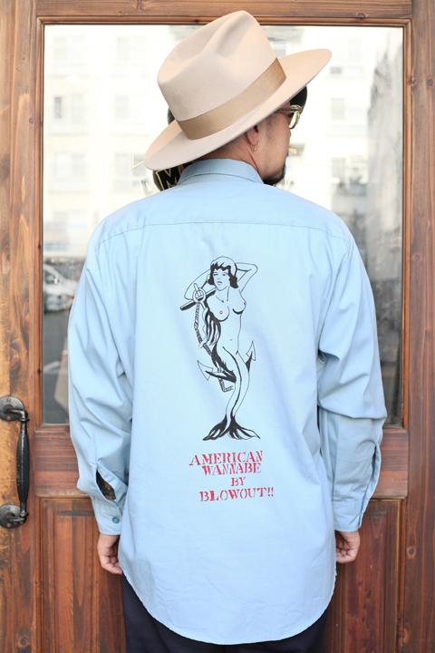 BLOWOUT!! × AMERICAN WANNABE  「HAND PAINT Work Shirts」  ハンドペイントワークシャツ