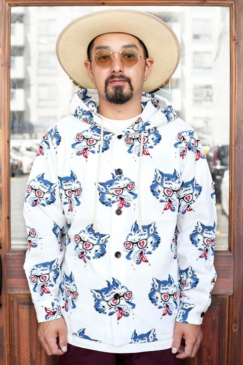 WEIRDO/ウィアード   「WOLF BAIT - HOODIE SHIRTS」   総柄フードシャツ