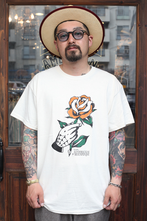 "RUM ART WORKS × AMERICAN WANNABE 「Traditional ""ROSE""S/S TEE 」  プリントS/Sティーシャツ"