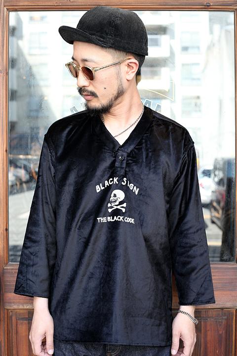 BLACK SIGN/ブラックサイン  「BS Skull Surgeon Shirt」  ベルベットプルオーバーシャツ