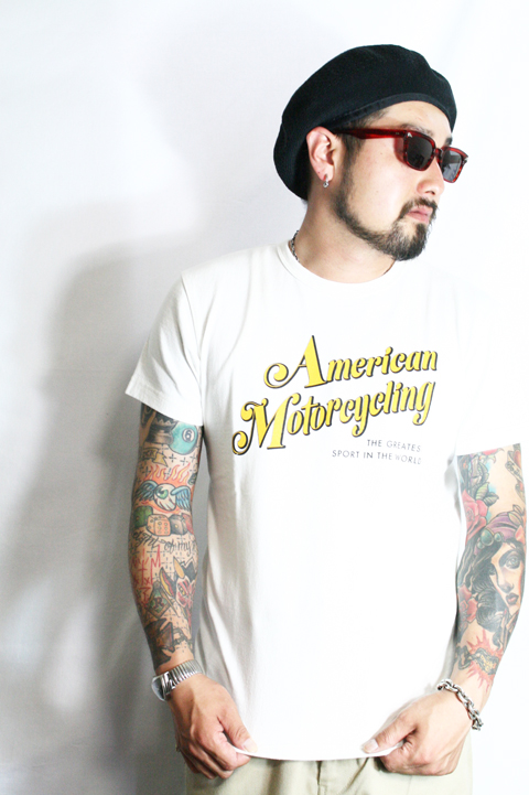 TROPHY CLOTHING/トロフィークロージング  「US Motorcycling Crew Tee」  プリントティーシャツ