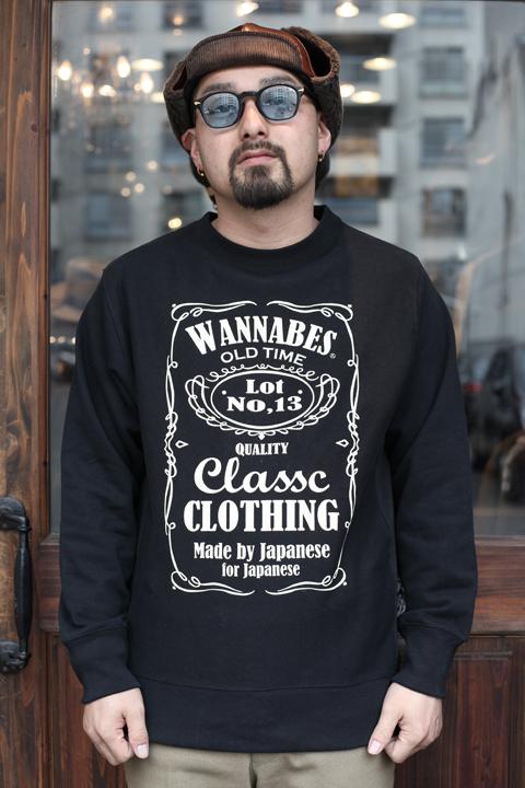 AMERICAN WANNABE/アメリカンワナビー  「Old Label 12oz CREW SWEAT」  12oz プリントクルースウェット