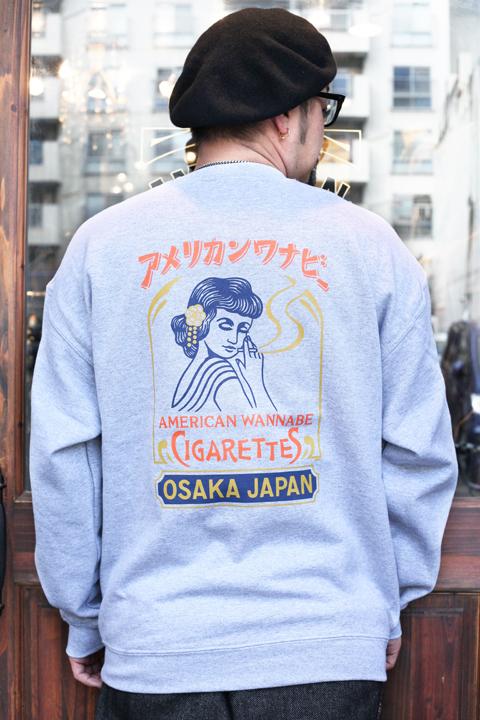 AMERICAN WANNABE/アメリカンワナビー  「Cigarettes 8oz CREW SWEAT」 クルースウェット