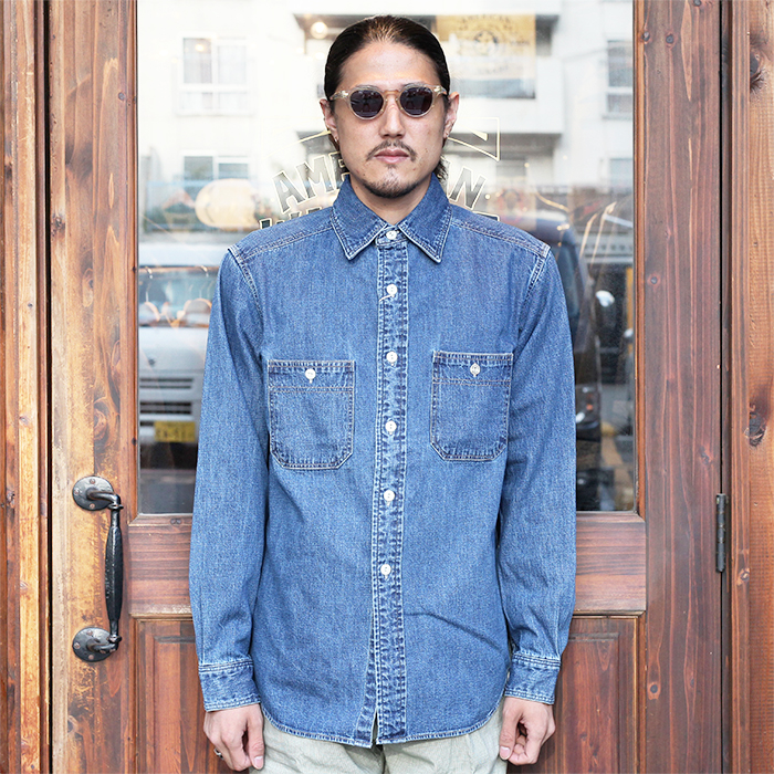 TROPHY CLOTHING/トロフィークロージング 「Signal Denim Shirt Used Wash」 ユーズドウォッシュデニムワークシャツ