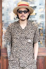 GANGSTERVILLE/ギャングスタービル   「RISE ABOVE - S/S SHIRTS」 総柄レオパードシャツ