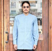 The Stylist Japan/ザスタイリストジャパン 「NEP CHAMBRAY PLEATS BAND COLLAR SHIRTS」  ネップシャンブレープリーツバンドカラーシャツ