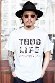 GANGSTERVILLE/ギャングスタービル  「THUG LIFE - S/S T-SHRITS」  クルーネックS/S TEE