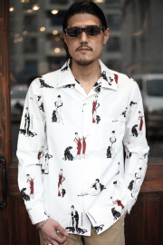 GANGSTERVILLE/ギャングスタービル   「LADY WITH PANTHER - L/S SHIRTS」  総柄オープンカラーシャツ