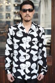 GANGSTERVILLE/ギャングスタービル   「VIRGINIA- L/S SHIRTS」  総柄オープンカラーシャツ
