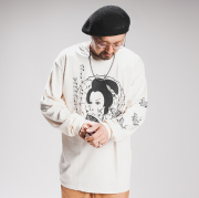 """RAT HOLE STUDIO × AMERICAN WANNABE Supported by PSYCHO WHEELS  「 """"Geisha"""" L/S TEE 」 プリント L/S Tシャツ"""