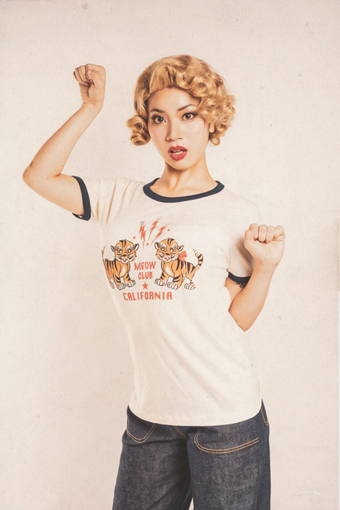 Miss Ladybug/ミスレディーバグ  「MEOW CLUB -RINGER T-SHIRTS」  リンガーティーシャツ