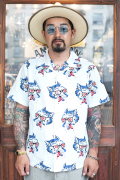 WEIRDO/ウィアード   「WOLF BAIT - S/S SHIRTS」   オープンカラー総柄S/Sシャツ