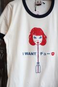Miss Ladybug/ミスレディーバグ  「I want you(chu) Ringer Tee」  リンガーティーシャツ