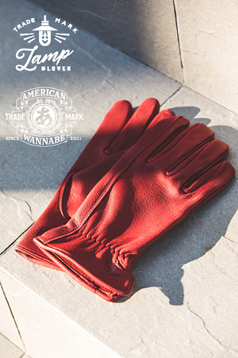 """Lamp gloves × AMERICAN WANNABE  「Deer Utility glove standard """"AMERICAN WANNABE Limited Color"""" 」  リミテッドカラー レザ-グローブ"""