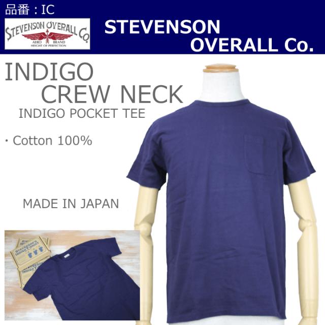 Stevenson Overall co./INDIGO CREW NECK TEE