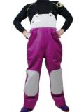 【S~5L】シーピープルサロッペット(胸付) マゼンタ/ピュアホワイト
